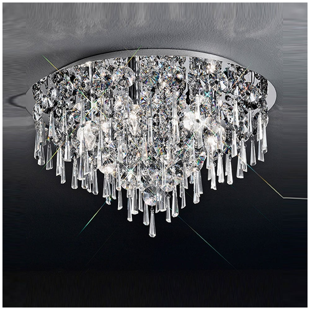 Franklite lighting cf5718 jazzy 6 light chrome and crystal flush cf5718 jazzy 6 light chrome and crystal flush ceiling light aloadofball Gallery
