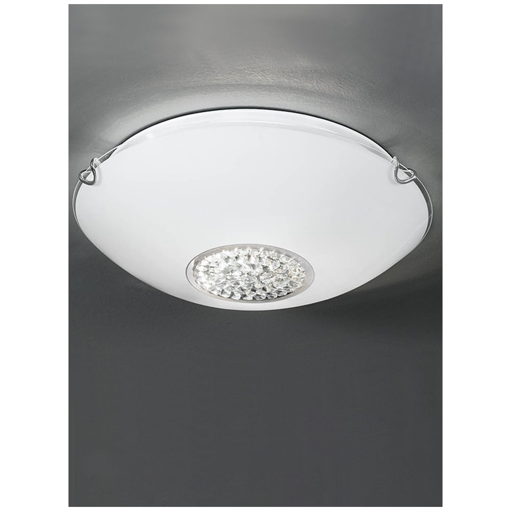 Franklite Lighting CF5729 Opal Glass & Crystal Flush Bathroom ...