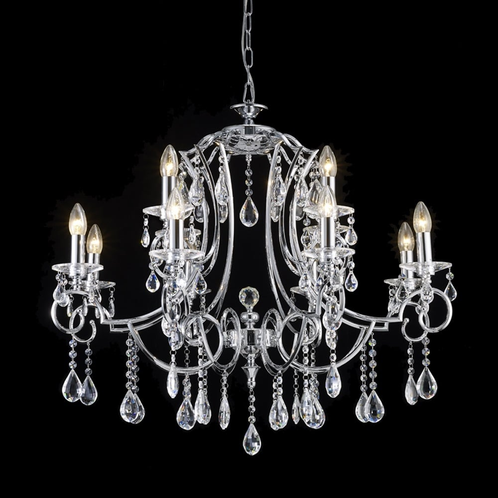 franklite lighting cinzia 12 light crystal ceiling pendant fitting