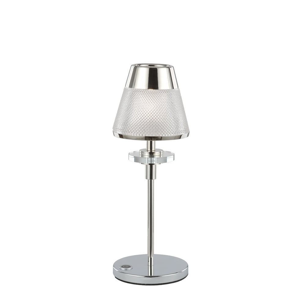 Concept Modern Table Lamp In Chrome Finish With Glass Shade TL502
