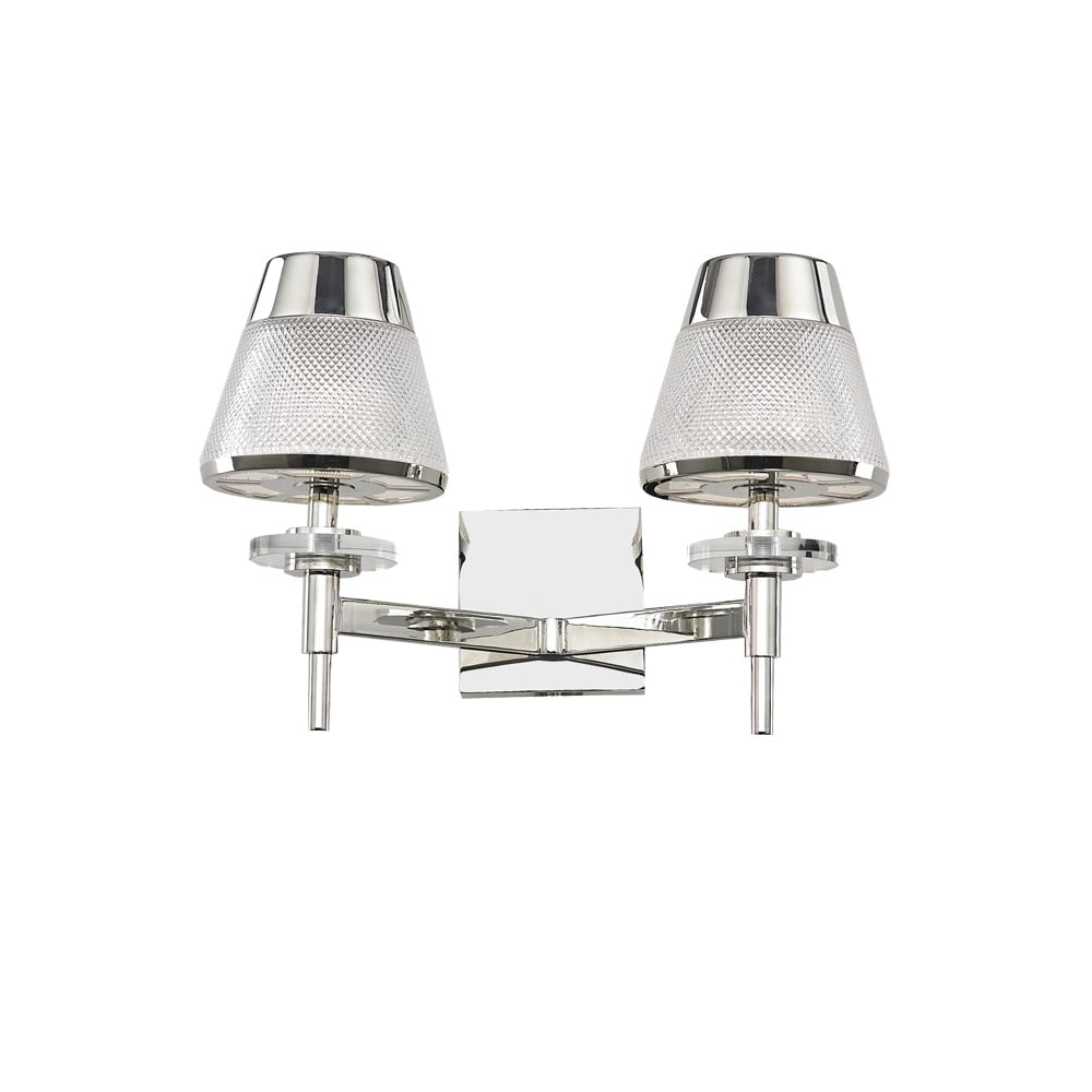 Franklite lighting concept modern twin wall light in chrome finish concept modern twin wall light in chrome finish with glass shades fl2379 2 aloadofball Images
