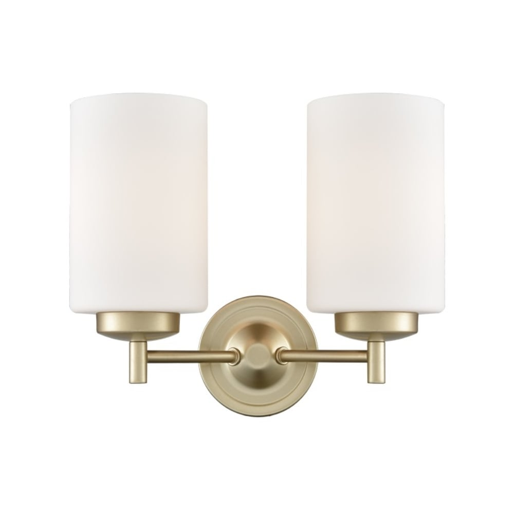 Franklite lighting decima twin wall light in matt gold finish with decima twin wall light in matt gold finish with opal glass shades fl2387 2 aloadofball Gallery