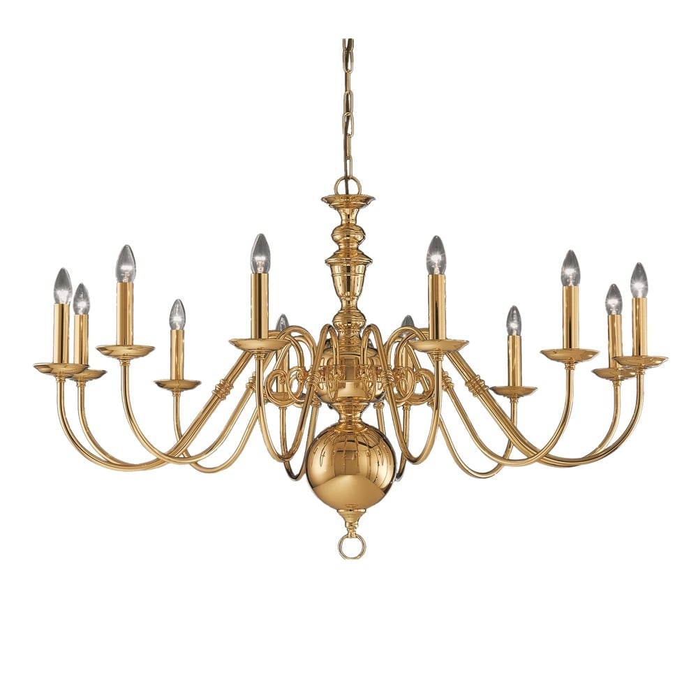 franklite lighting delft 12 light large polished brass chandelier