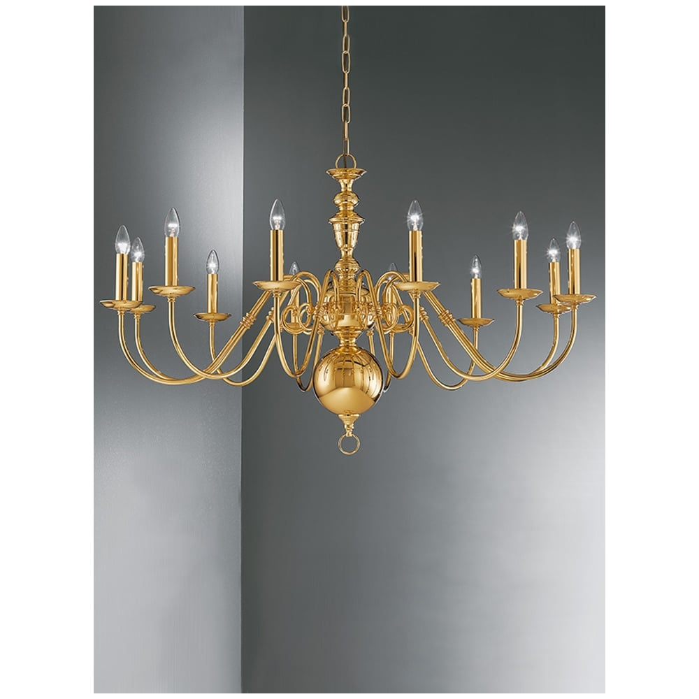 Delft 12 Light Large Polished Brass Chandelier Co41712pb