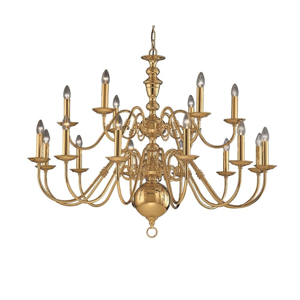 Franklite lighting delft 18 light large polished brass chandelier delft 18 light large polished brass chandelier co41718pb arubaitofo Images