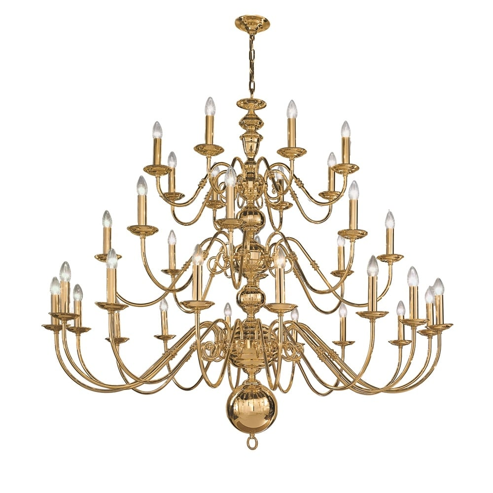 Delft 32 Light Large Polished Brass Chandelier Co41732pb