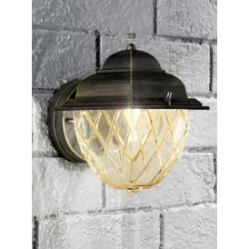 EXT6608 Giardino 1 Light Exterior Wall Lantern With Amber Glass
