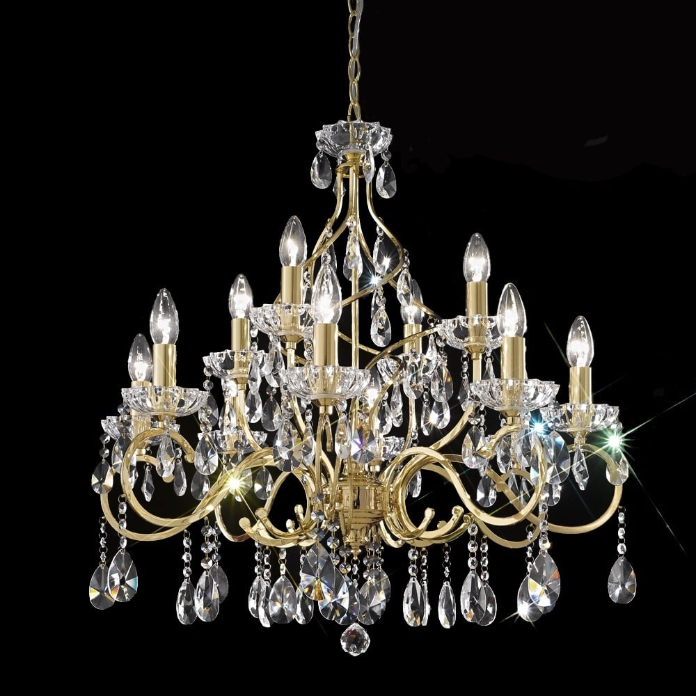 franklite lighting fl2159 12 chiffon gold 12 light ceiling fitting