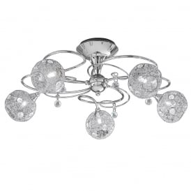 FL2214/5 Orion 5 Light Semi Flush Ceiling Light