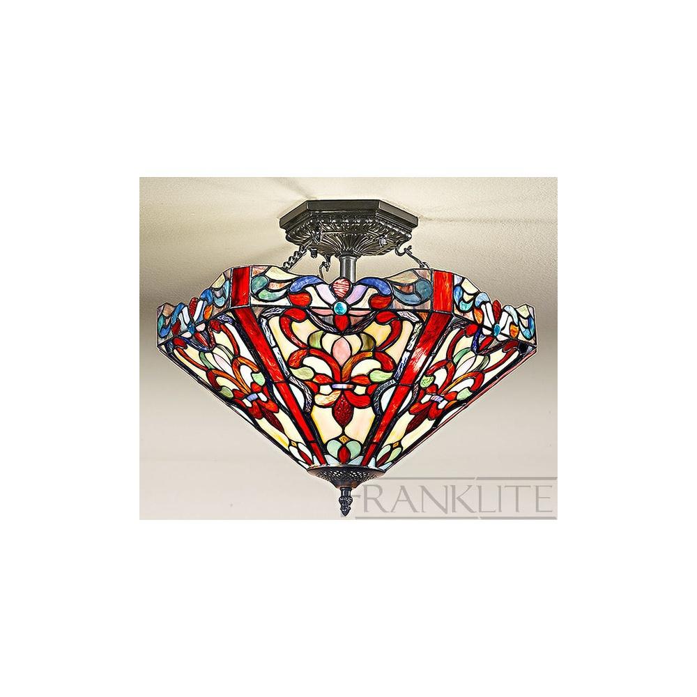 franklite lighting fl2263 3 and t125 vaudeville tiffany semi flush ceiling light franklite. Black Bedroom Furniture Sets. Home Design Ideas