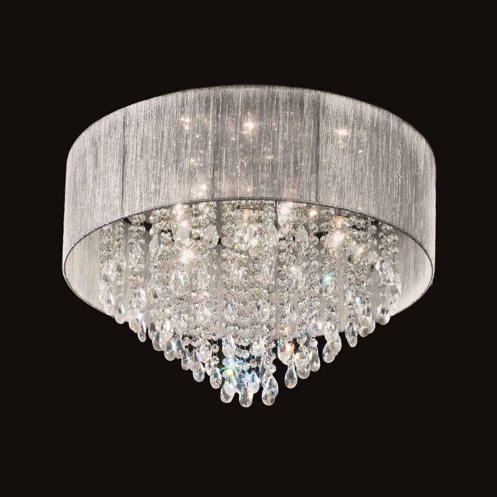 franklite lighting fl2281 7 royale 7 light flush chrome and crystal