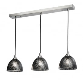 FL2290/3/952 Vetross 3 Light Ceiling Bar Pendant in Black Crackle