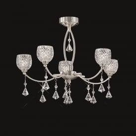 FL2292/5 Sherrie 5 Light Satin Nickel Ceiling Light