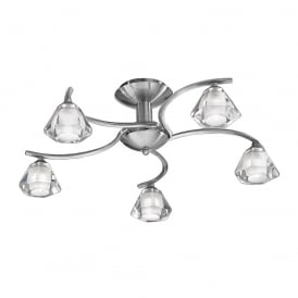 FL2294/5 Twista 5 Light Satin Nickel Semi Flush Light