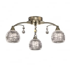 FL2296/3 Jura 3 Light Bronze, Crystal Semi Flush Ceiling Light