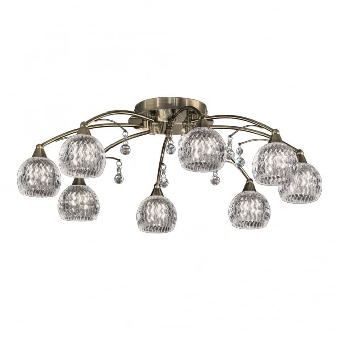 Franklite Lighting FL2296/8 Jura 8 Light Bronze, Crystal Semi Flush Ceiling Light