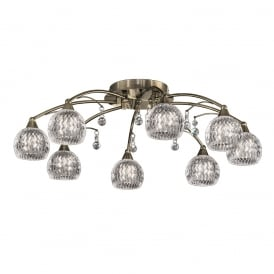 FL2296/8 Jura 8 Light Bronze, Crystal Semi Flush Ceiling Light