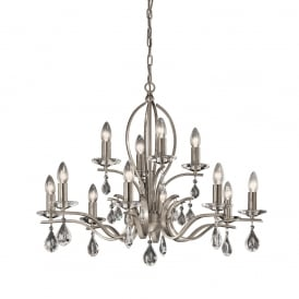 FL2298/12 Willow 12 Light Satin Nickel and Crystal Chandelier