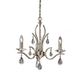 FL2298/3 Willow 3 Light Satin Nickel and Crystal Chandelier