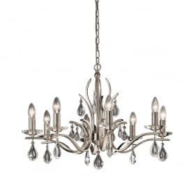 FL2298/8 Willow 8 Light Satin Nickel and Crystal Chandelier