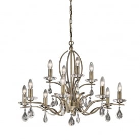 FL2299/12 Willow 12 Light Bronze and Crystal Chandelier