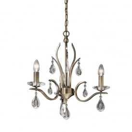 FL2299/3 Willow 3 Light Bronze and Crystal Chandelier