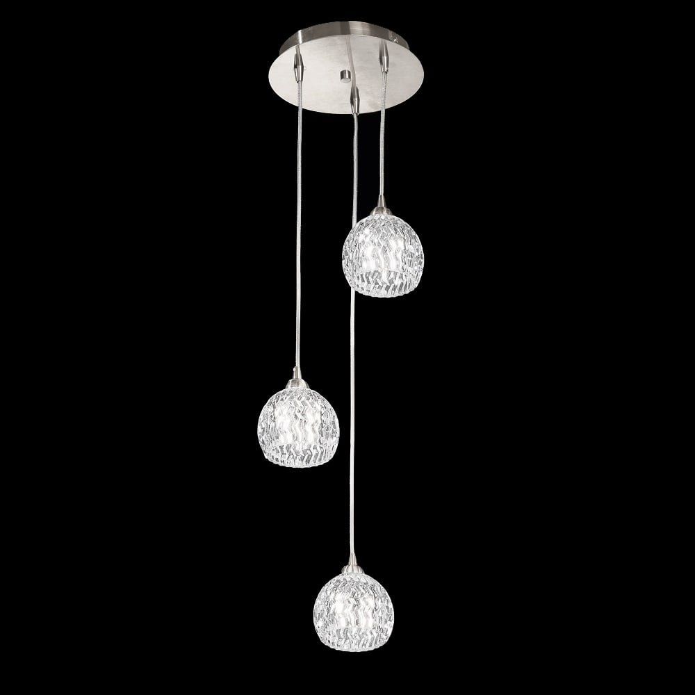 Fl2300 3 tierney 3 light satin chrome cluster pendant light