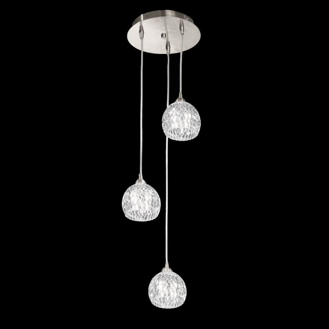 Franklite Lighting FL2300/3 Tierney 3 Light Satin Chrome Cluster Pendant Light