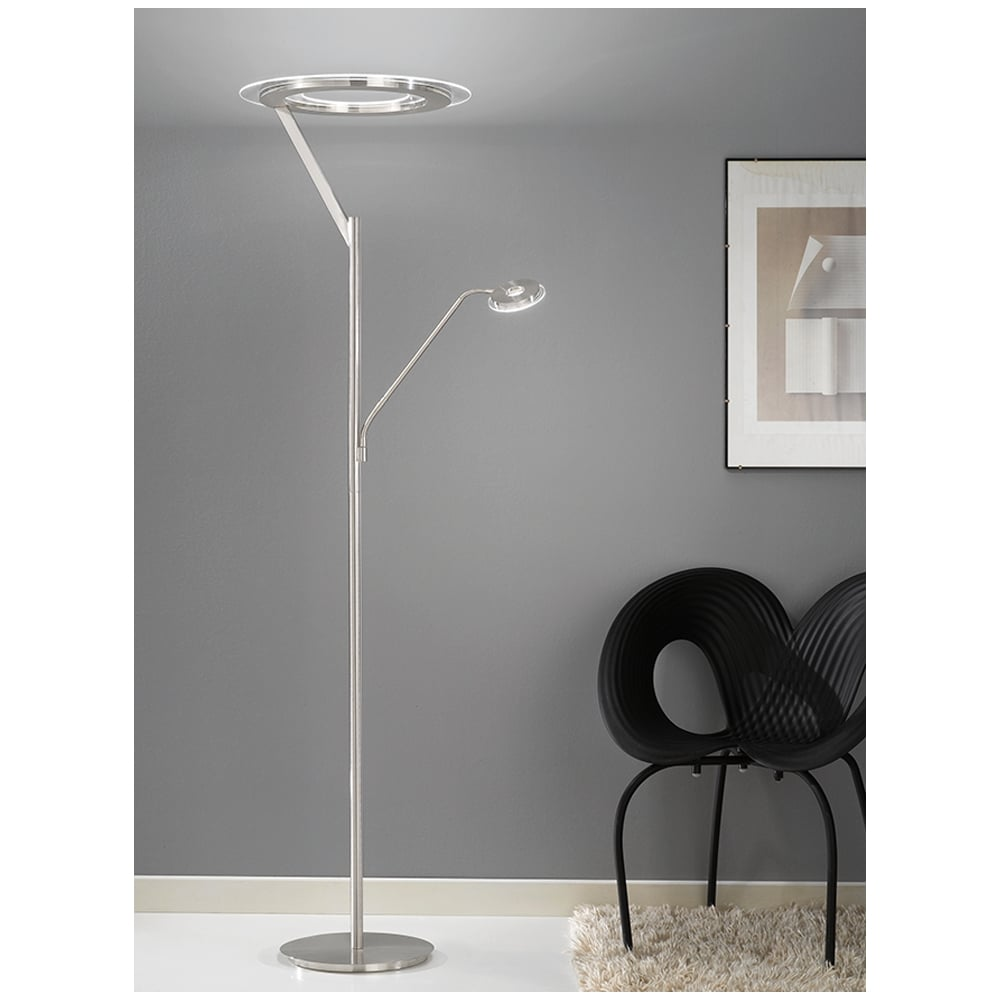 Franklite lighting modern led mother and child floor lamp in satin modern led mother and child floor lamp in satin nickel finish sl214 aloadofball Images