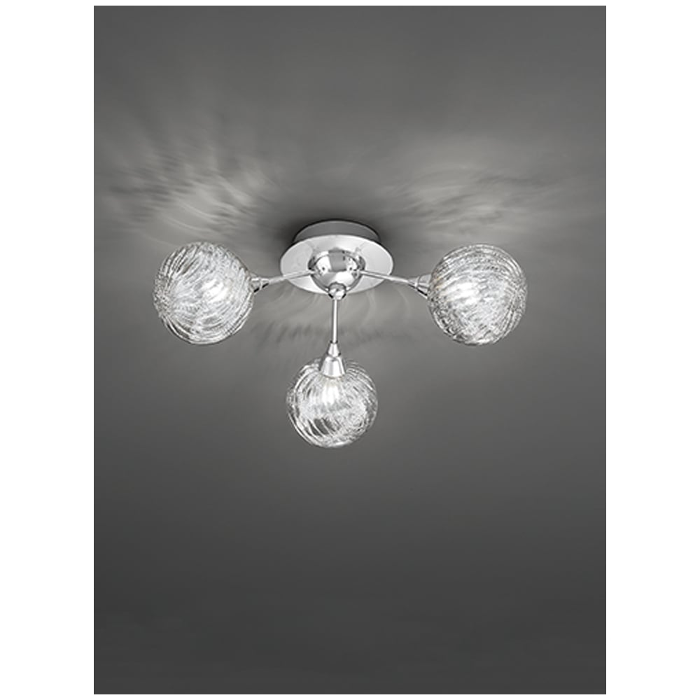franklite lighting protea modern 3 light semi flush ceiling fitting