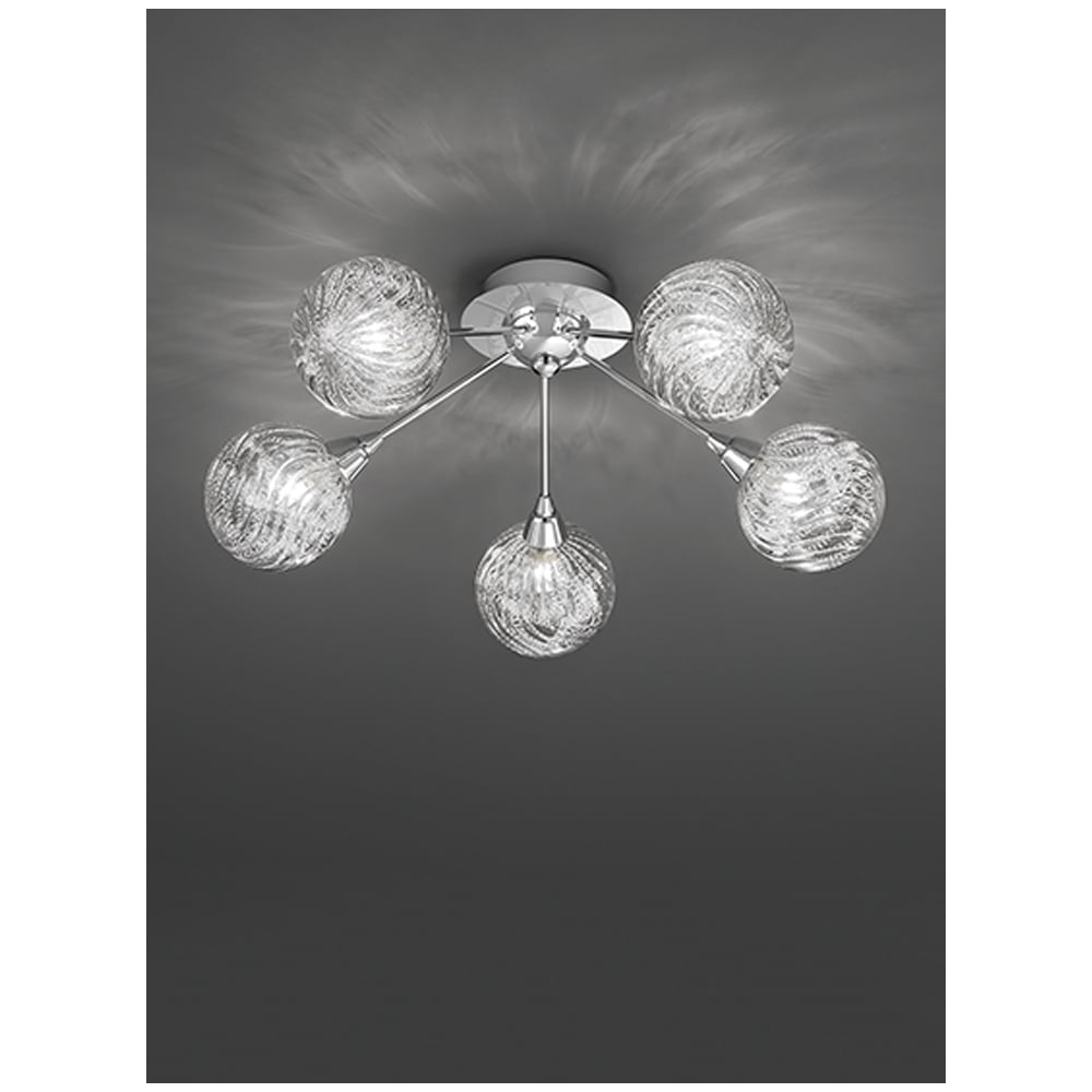 franklite lighting protea modern 5 light semi flush ceiling fitting