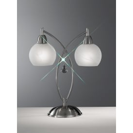 TL907 Thea 2 Light Modern Satin Chrome & Crystal Table Lamp