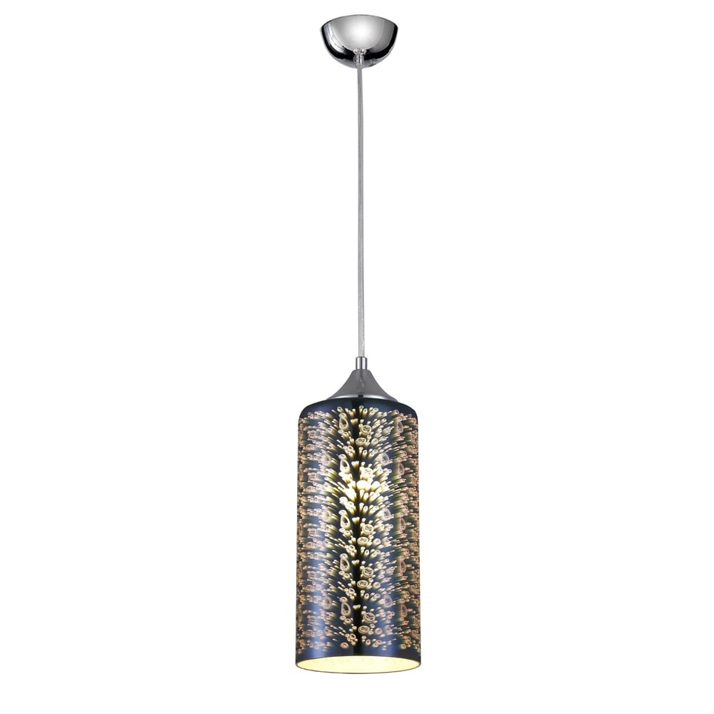Vision Cylinder Glass Ceiling Pendant Light In Chrome Finish PCH128