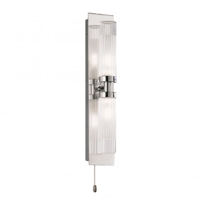 Franklite Lighting WB534 Chrome Bathroom Double Wall Light & Glass Shades, IP44