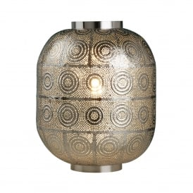 Fretwork Table Lamp In Shiny Nickel Finish With Circular Pattern 1331SS