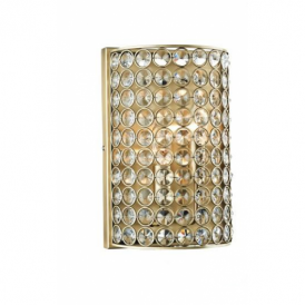 FRO0975 Frost 2 Light Antique Brass And Crystal Wall Light