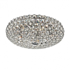 FRO5450 Frost 5 Light Chrome And Crystal Flush Ceiling Light