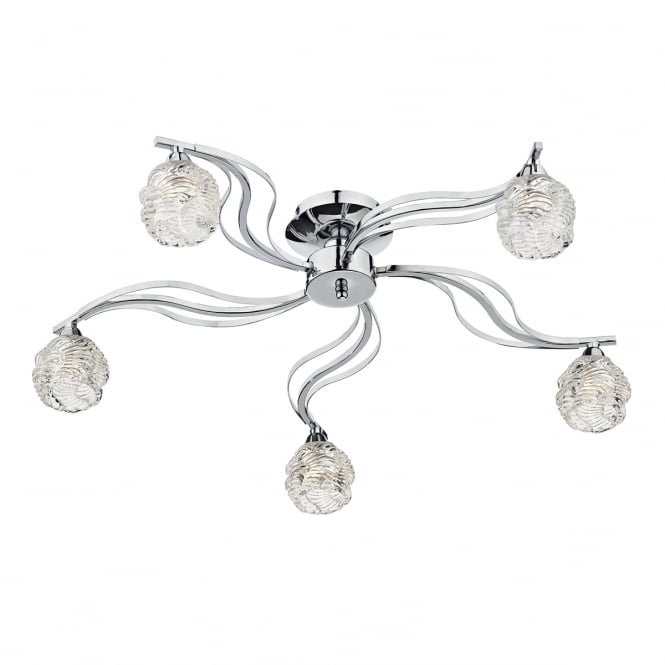 Dar Lighting Fuego Glass Semi Flush Ceiling Light In Polished Chrome Finish FUE5450