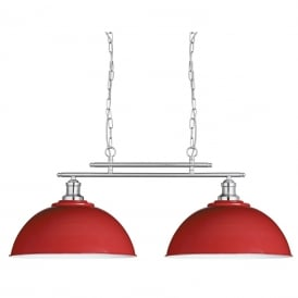 Fusion 2 Light Bar Ceiling Pendant Light In Satin Silver And Red Finish 0932-2RE