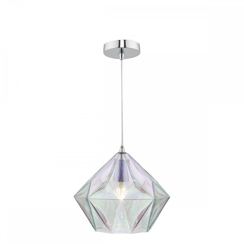 Gaia modern led ceiling pendant with iridised bevelled glass shade gai0150