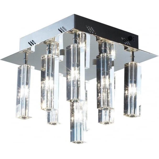 Dar Lighting GAL1350,Galileo 9 Light Flush Fitting in Chrome with Clear Glass Shades