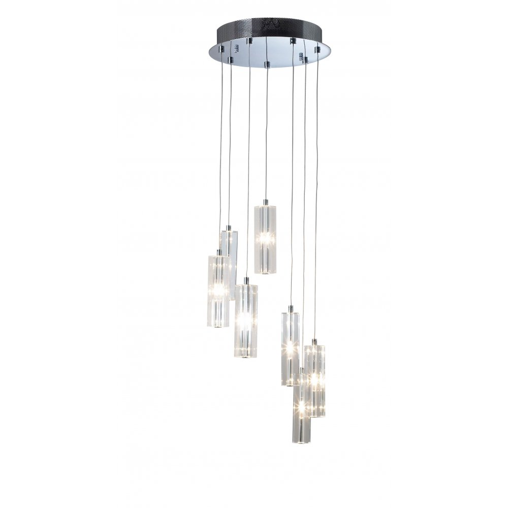 Trace Light Suspended Lights From Sklo: Dar Lighting GAL3450, Galileo 7 Light Hanging Ceiling