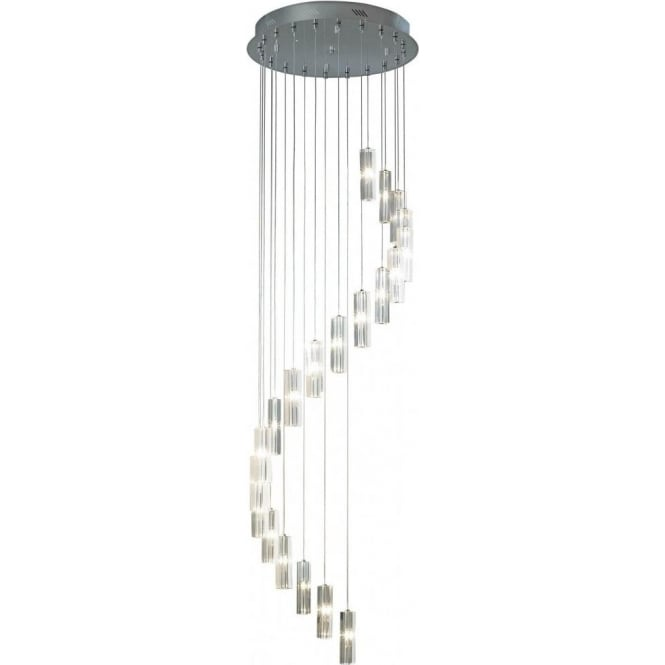 Dar Lighting GAL5750 Galileo 20 Light Ceiling Pendant GAL5750 in Chrome with Crystal Shades
