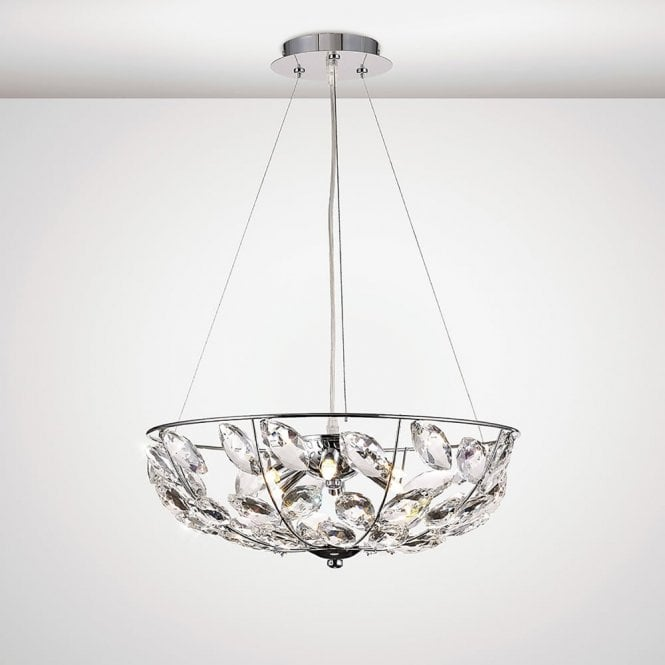 Diyas Lighting Galilea Stylish 6 Light Crystal Ceiling Pendant In Polished Chrome IL31656