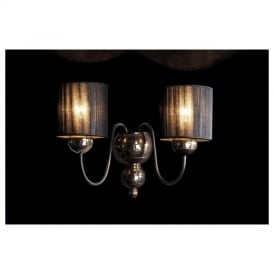 GAR0963 Garbo Double Wall Light with Black Shades