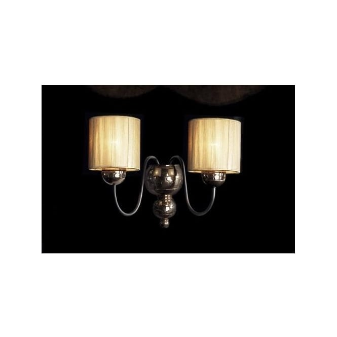 Dar Lighting GAR0964 Garbo Double Wall Light with Gold Shades