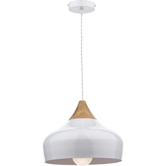 Dar Lighting GAU0102 Gaucho White Ceiling Pendant Light with Wood Detail
