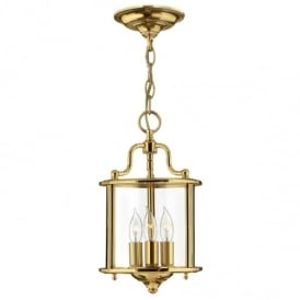 Gentry 3 Light Ceiling Pendant Light in Polished Brass Finish HK/GENTRY/P/S PB