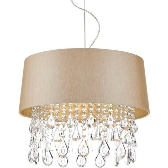 Dar Lighting Geraldine 1 Light Taupe Ceiling Pendant Light with Crystal Droplets GER0101