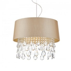 Geraldine 1 Light Taupe Ceiling Pendant Light with Crystal Droplets GER0101